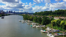 Summer Establishing Shot of Pittsburgh Marina and Skyline Footage