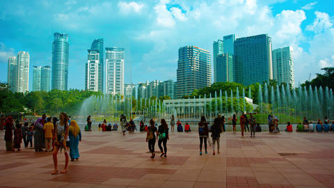 The Famous Lake Symphony Fountains at KLCC Park in Downtown Kuala Lumpur. Malays Footage
