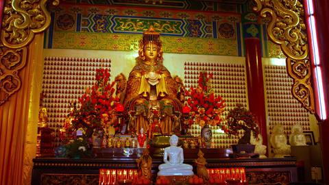 Statue of the Godess Mazu. inside Thean Hou Temple in Kuala Lumpur. Malaysia Footage