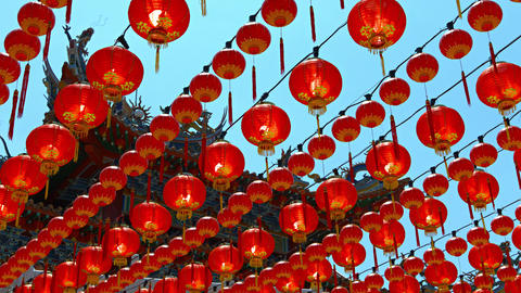 Dozens of Chinese Paper Lanterns. Hung in Long Rows in front of Thean Hou Temple Footage