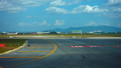 Rolling down the Taxiway at Kuala Lumpur International Airport in Malaysia Footage