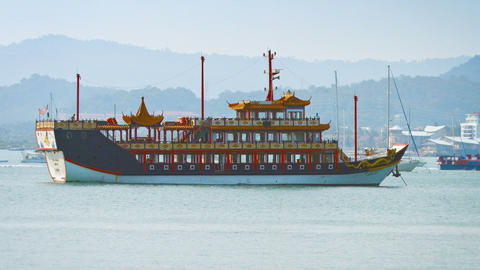 My Laksamana Cheng Ho. a vessel styled after a Chinese Junk. provides dinner cru Live Action