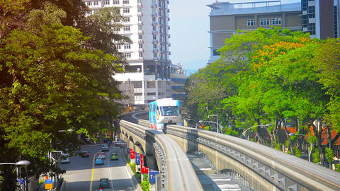 Monorail commuter train traveling through the downtown area in Kuala Lumpur. Mal Footage