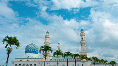 Line of Palm Trees fronting Kota Kinabalu City Mosque in Timelapse Footage