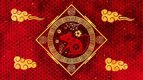 Lunar New Year, Spring Festival background with golden rat, glittering stars and Animation
