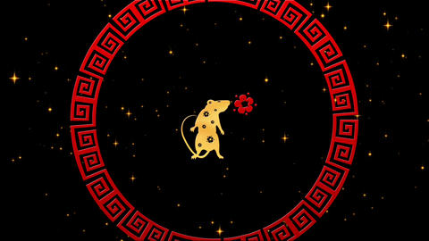 Gold Chinese New Year background with red, gold and black, rat, fireworks Animation