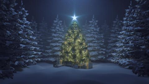 Christmas tree with a shining star and a garland in the forest with falling snow Live Action