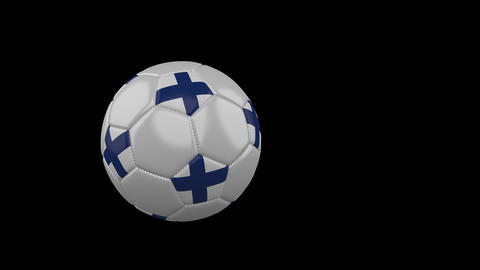 Finland flag on flying soccer ball on transparent background, alpha channel Animation