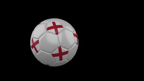 England flag on flying soccer ball on transparent background, alpha channel Animation