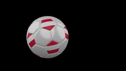 Austria flag on flying soccer ball on transparent background, alpha channel Animation