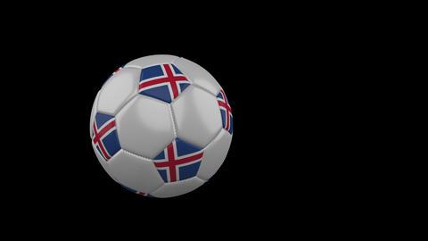 Iceland flag on flying soccer ball on transparent background, alpha channel Animation