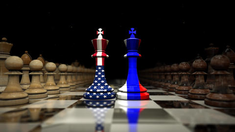 on the chessboard facing the shah of america and russia. chess and strategy Animation