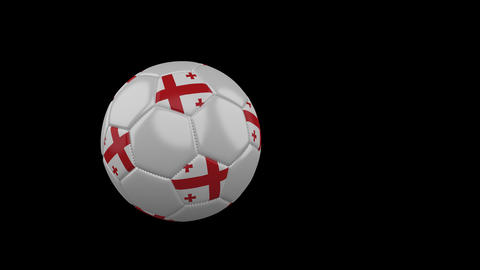 Georgia flag on flying soccer ball on transparent background, alpha channel Animation