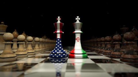 on the chessboard facing the shah of america and iran. chess and strategy Animation