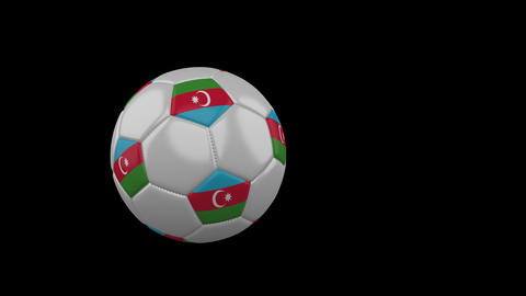 Azerbaijan flag on flying soccer ball on transparent background, alpha channel Animation