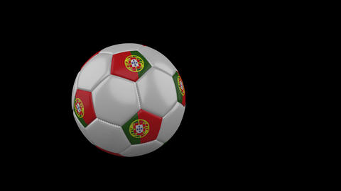 Portugal flag on flying soccer ball on transparent background, alpha channel Animation