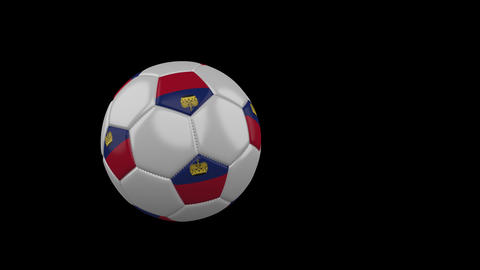 Liechtenstein flag on flying soccer ball on transparent background, alpha Animation