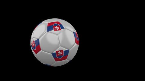 Slovakia flag on flying soccer ball on transparent background, alpha channel Animation