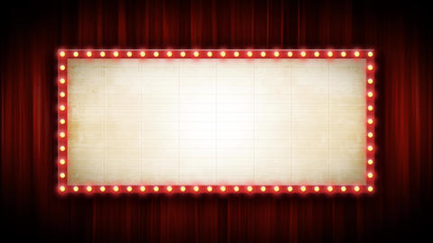 Theater Or Cinema Background With Marquee Sign And Red Curtains Animation