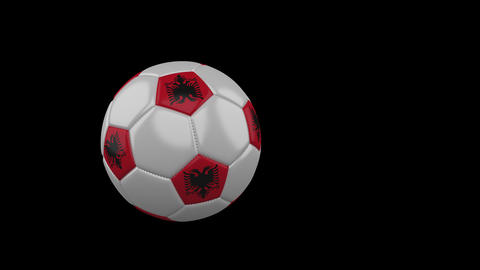 Albania flag on flying soccer ball on transparent background, alpha channel Animation