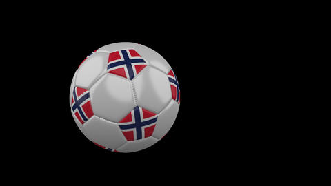 Norway flag on flying soccer ball on transparent background, alpha channel Animation