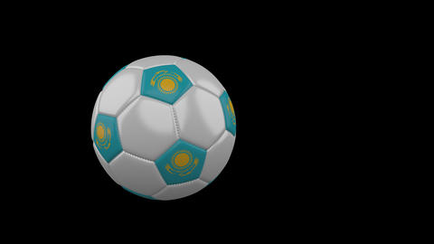 Kazakhstan flag on flying soccer ball on transparent background, alpha channel Animation