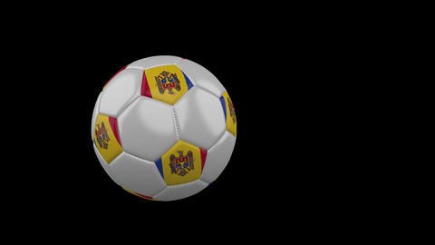 Moldova flag on flying soccer ball on transparent background, alpha channel Animation