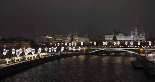 View of the Kremlin and New Year's illumination from the Patriarchal bridge Live Action