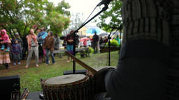 African drummer at cultural music gig Live Action