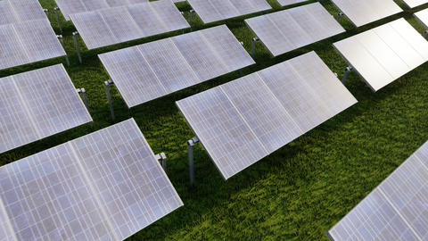 Solar panels for wallpaper design. Grid background. Alternative clean energy Live Action