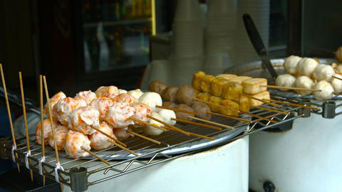 Fish Balls and Other Traditional Asian Street Foods at a Vendor Footage