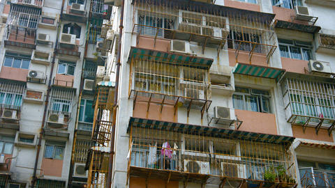Old. Rust Streaked Facade of an Apartment Building in Asia Footage