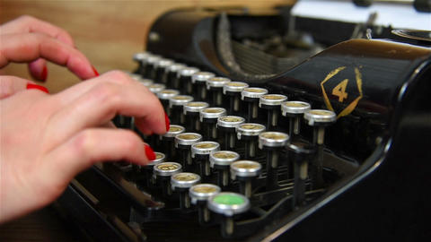 Hand Typing on Typewriter Footage