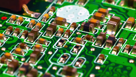 Circuit Board With Microchips Footage