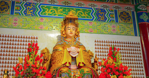 Statue of Mazu. the Chinese. patron godess of fishermen and seafarers. inside a  Footage