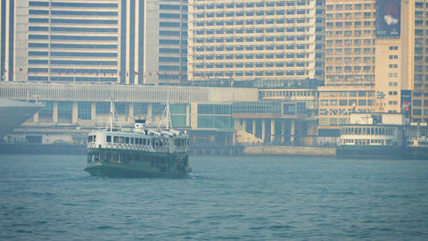Passenger ferry. cruising the waters off Hong Kong Footage