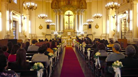Interior of Saint Anthony of Padua Church in downtown Macau. China Footage