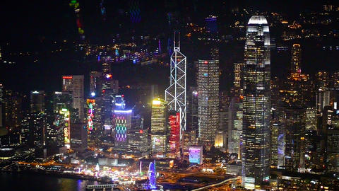 Beautifully lit. night time cityscape of Hong Kong Footage