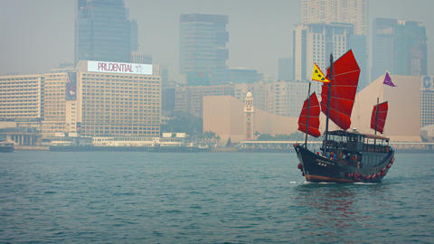 Aqua Luna. a tour boat fashioned after an old chinese junk Footage