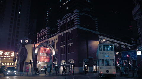 Nighttime cityscape of Hong Kong. with Western Market. oldest buildings in the c Footage