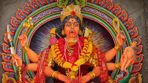 Scary and Disturbing Sculpture of the Hindu Goddess. Kali Footage