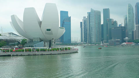 Beautiful. contemporary cityscape of downtown Singapore Footage