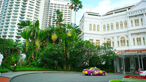 Raffles City Robinson's Shopping mall and Raffles Hotel in Singapore Footage