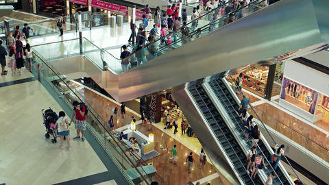 Interior view of the Shoppes at Marina Bay Sands. Singapore Stock Video Footage