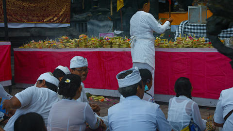 Religious ceremony at Pura Goa Lawah Temple Footage