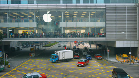 Buyers stand in big apple store in International Finance Centre Hong Kong Footage