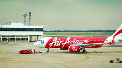 Commercial passenger AirAsia aircraft prepare for takeoff Footage