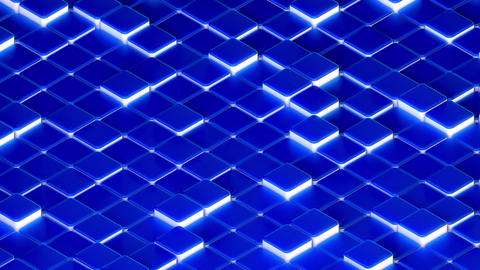 Blue Isometric 3D Swaying Platforms with Glowing White Sides CG動画