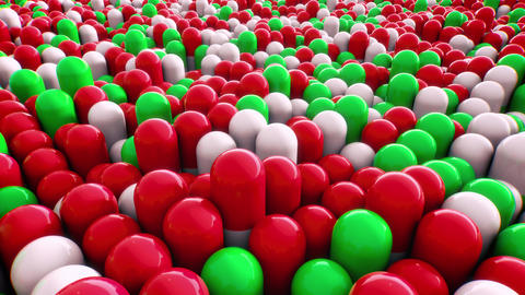 Fast Moving 3D Red and Green Pills Animation