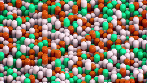 Isometric 3D Green and Orange Pills Panning From Top…, Stock Animation
